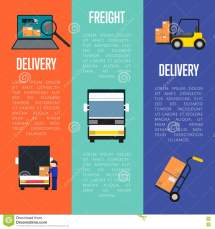 Logistics And Freight Delivery Banners Set Stock Vector