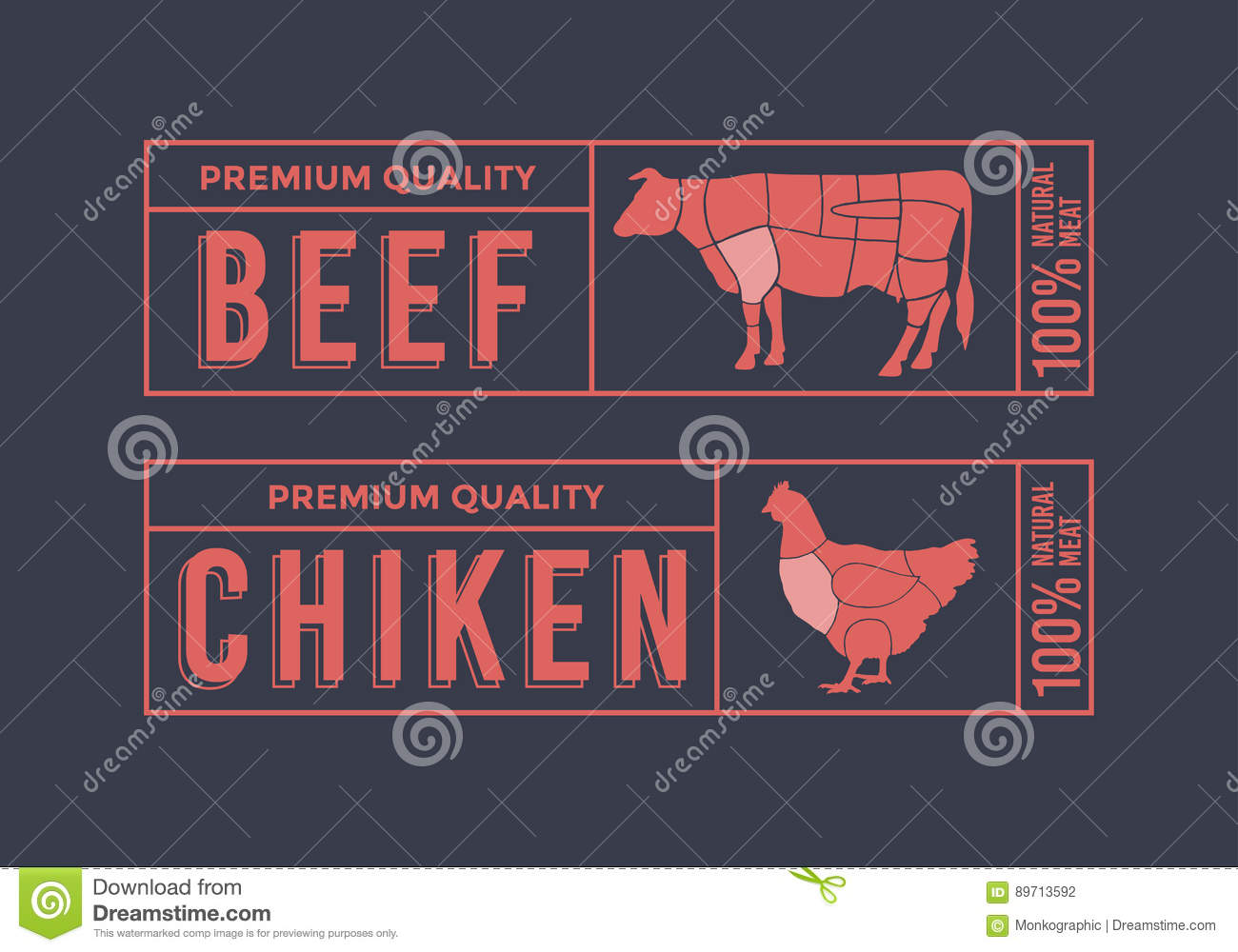 hight resolution of logo for labelling of meat picture animals used for food from the meat industry