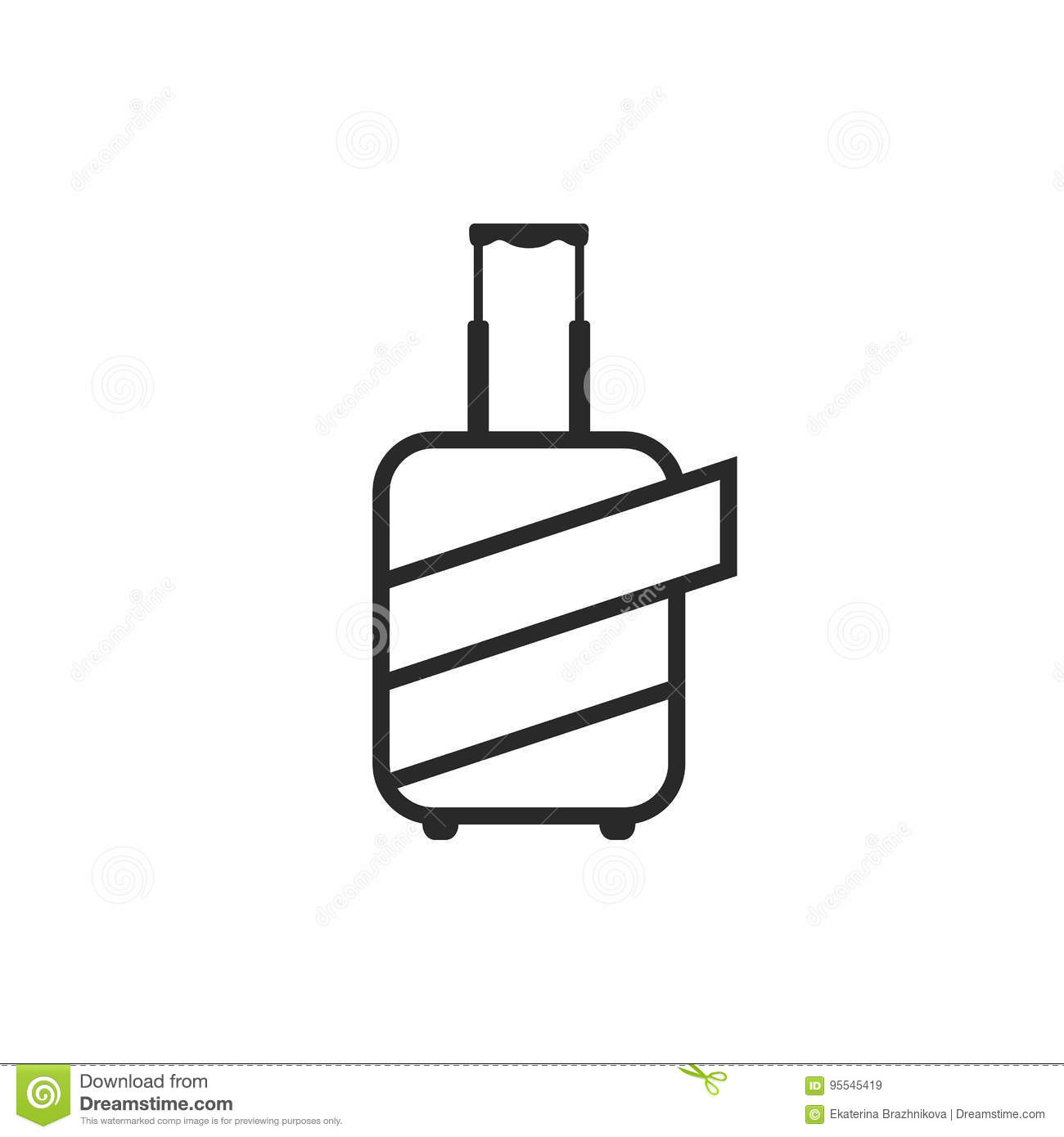 Logo Of Luggage Wrapped By Protective Coating Stock Vector