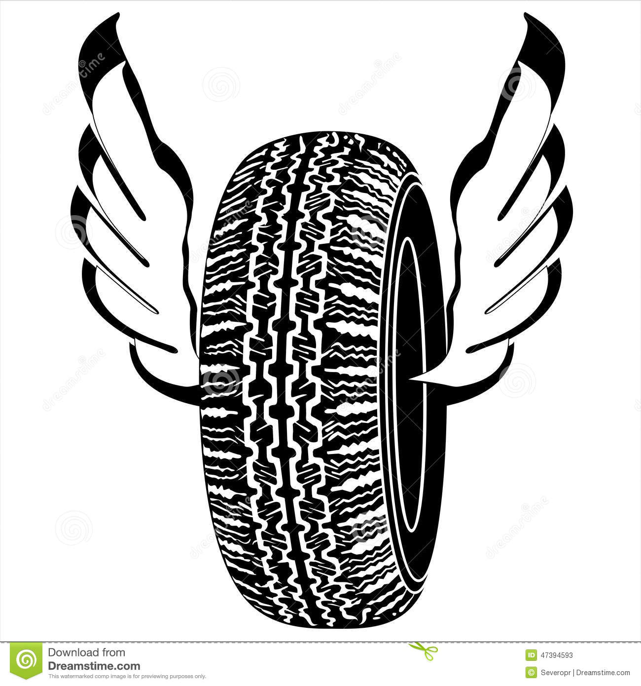 Logo Tire With Wings For Road Transport Stock Vector
