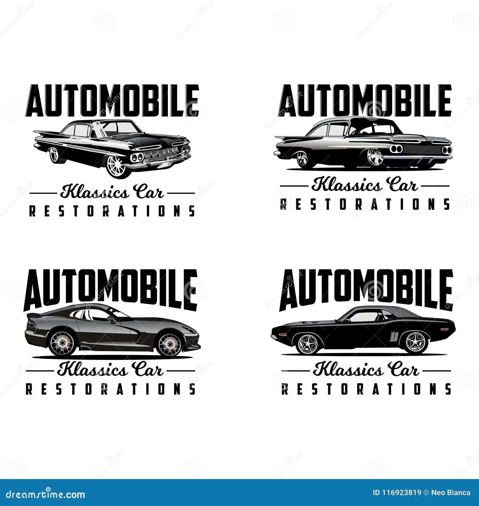 Classic Car Restoration Logo Vector Stock Vector
