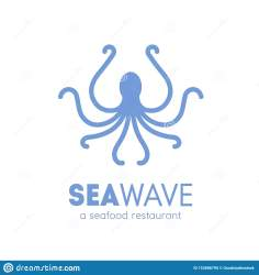 octopus silhouette logotype seafood mollusc isolated marine restaurant animal background preview