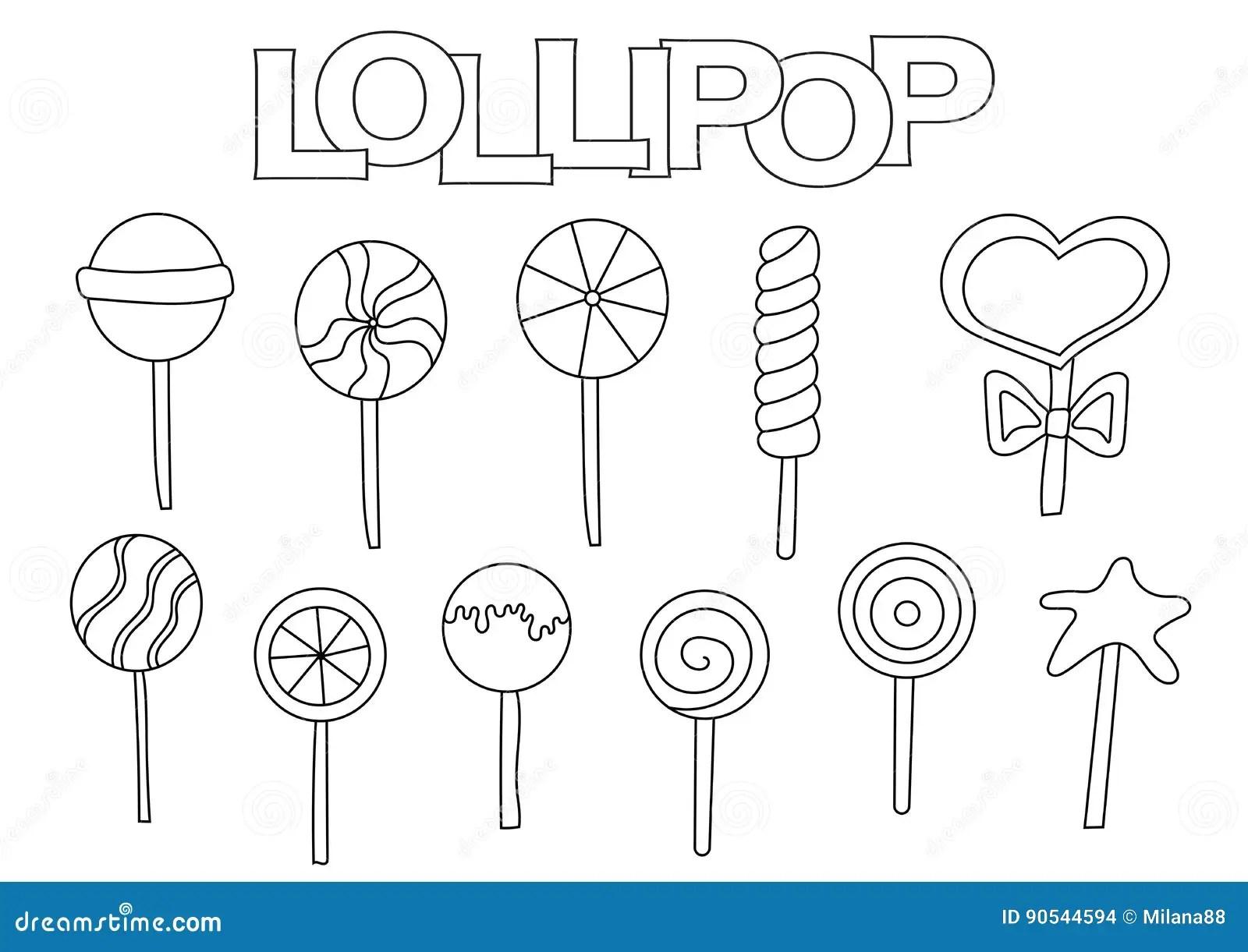 Lollipop Elements Hand Drawn Set. Coloring Book Template