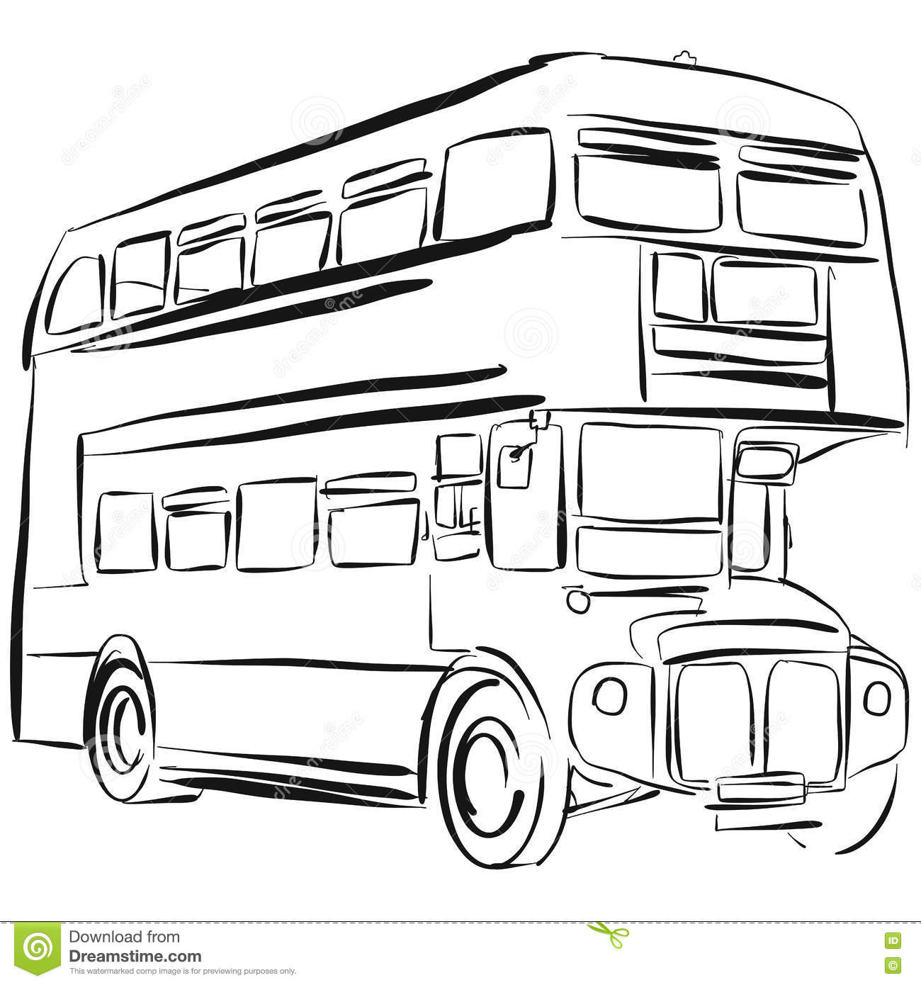 London Bus Vector Drawing Stock Vector Illustration Of