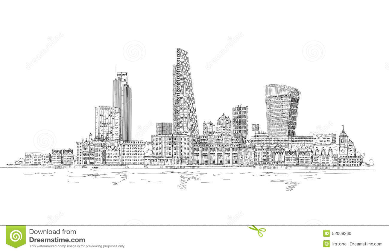 London City View From The Thames River Sketch