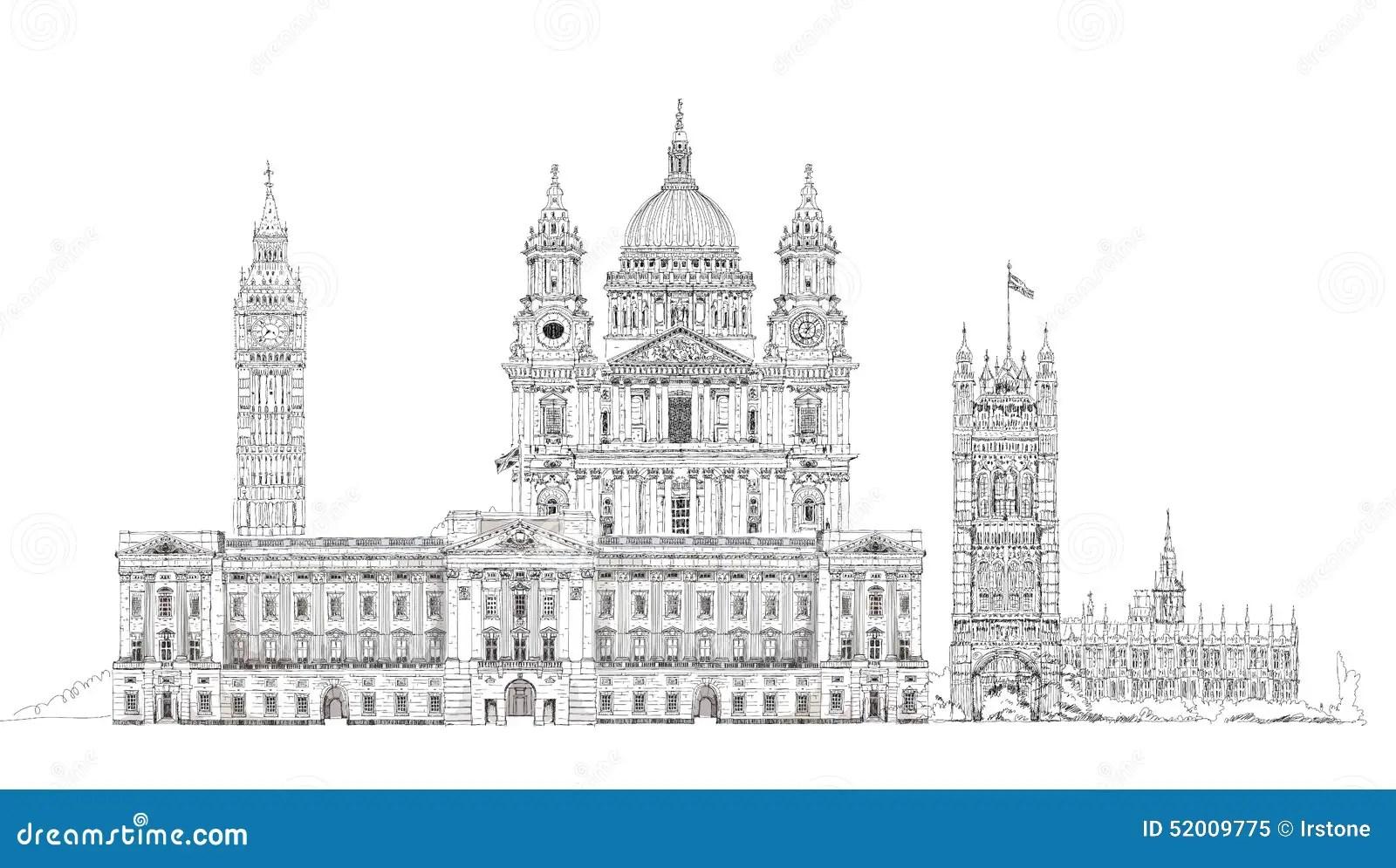 London Sketch Big Ben Parliament St Paul Cathedral