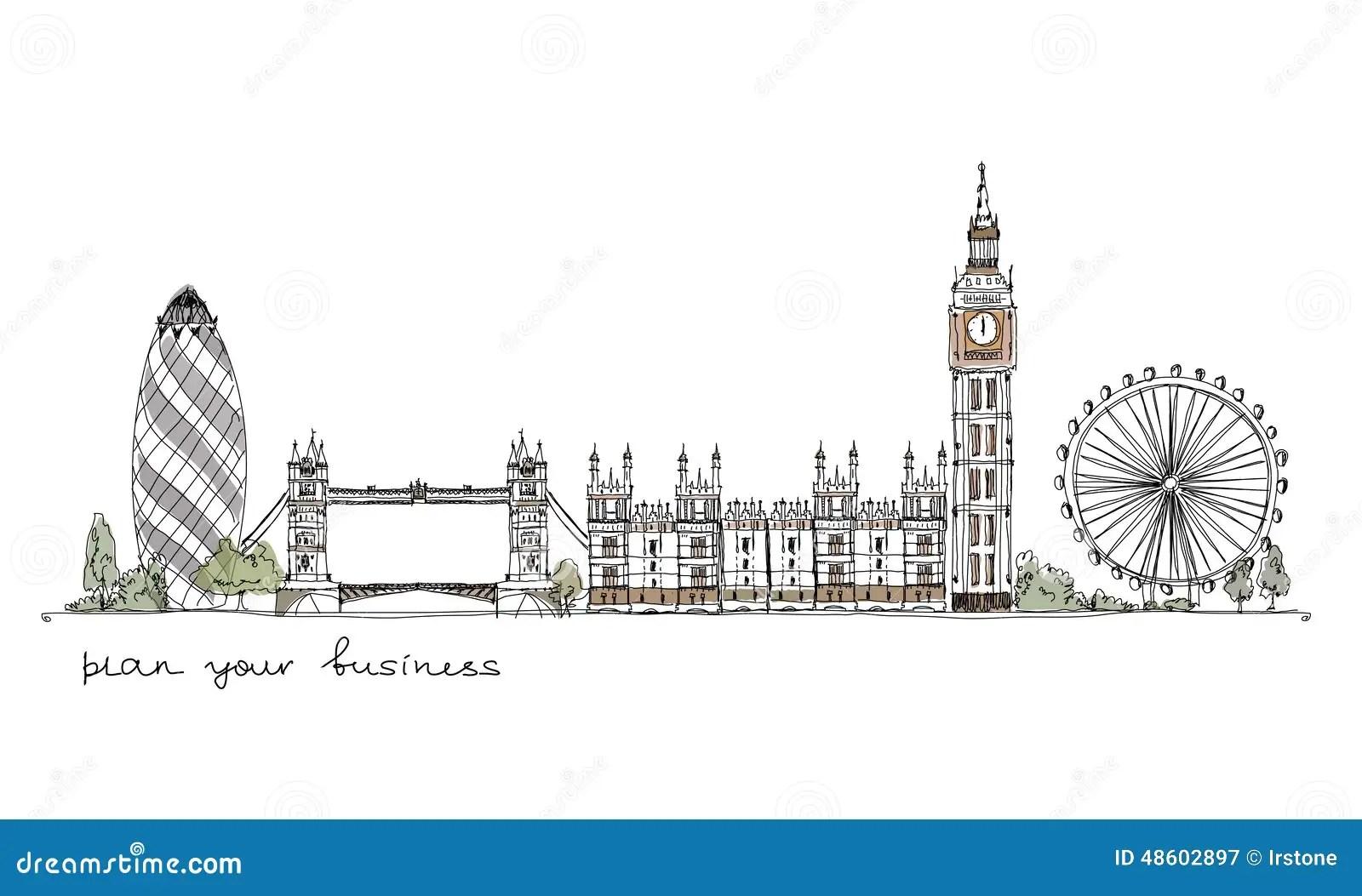 London Sketch Collection Stock Illustration Illustration