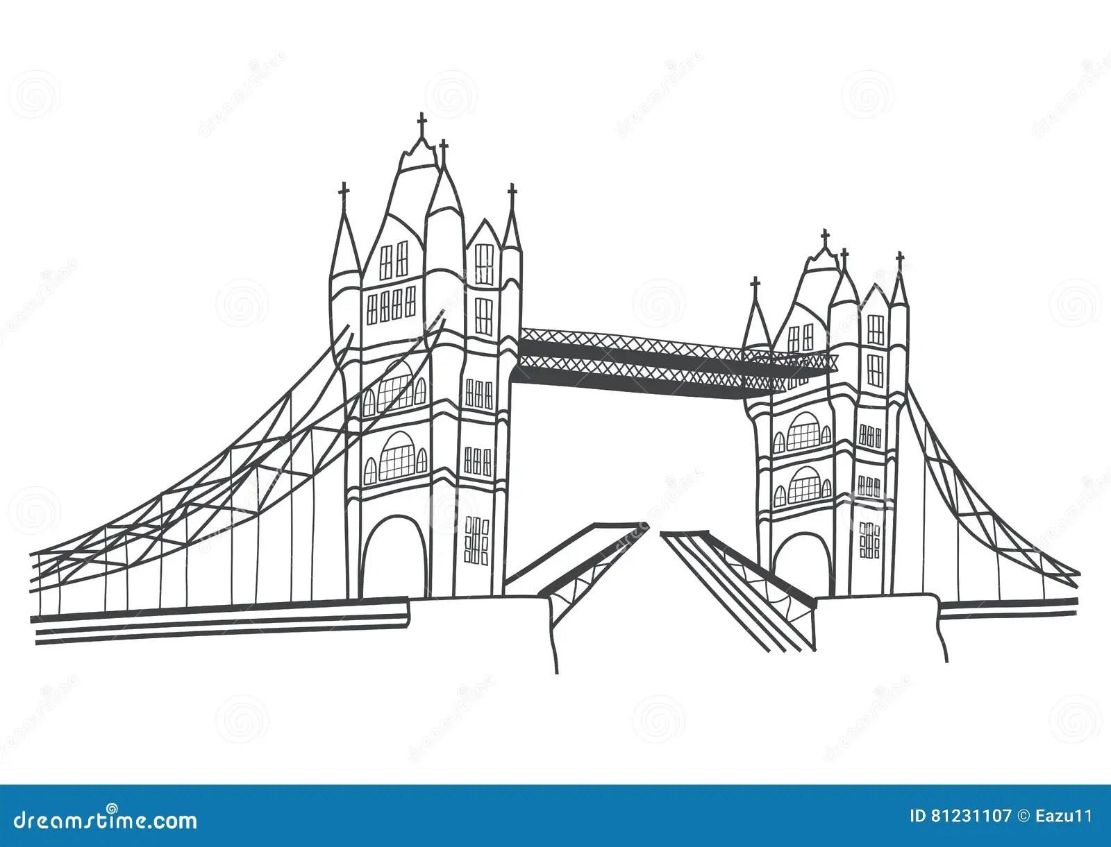 London Bridge Drawing Vector Illustration