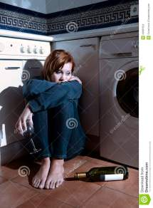Lonely Drunk Alcoholic Woman Sitting Kitchen Floor In