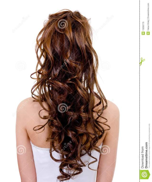 long curly wedding hairstyle stock image - image of wedding
