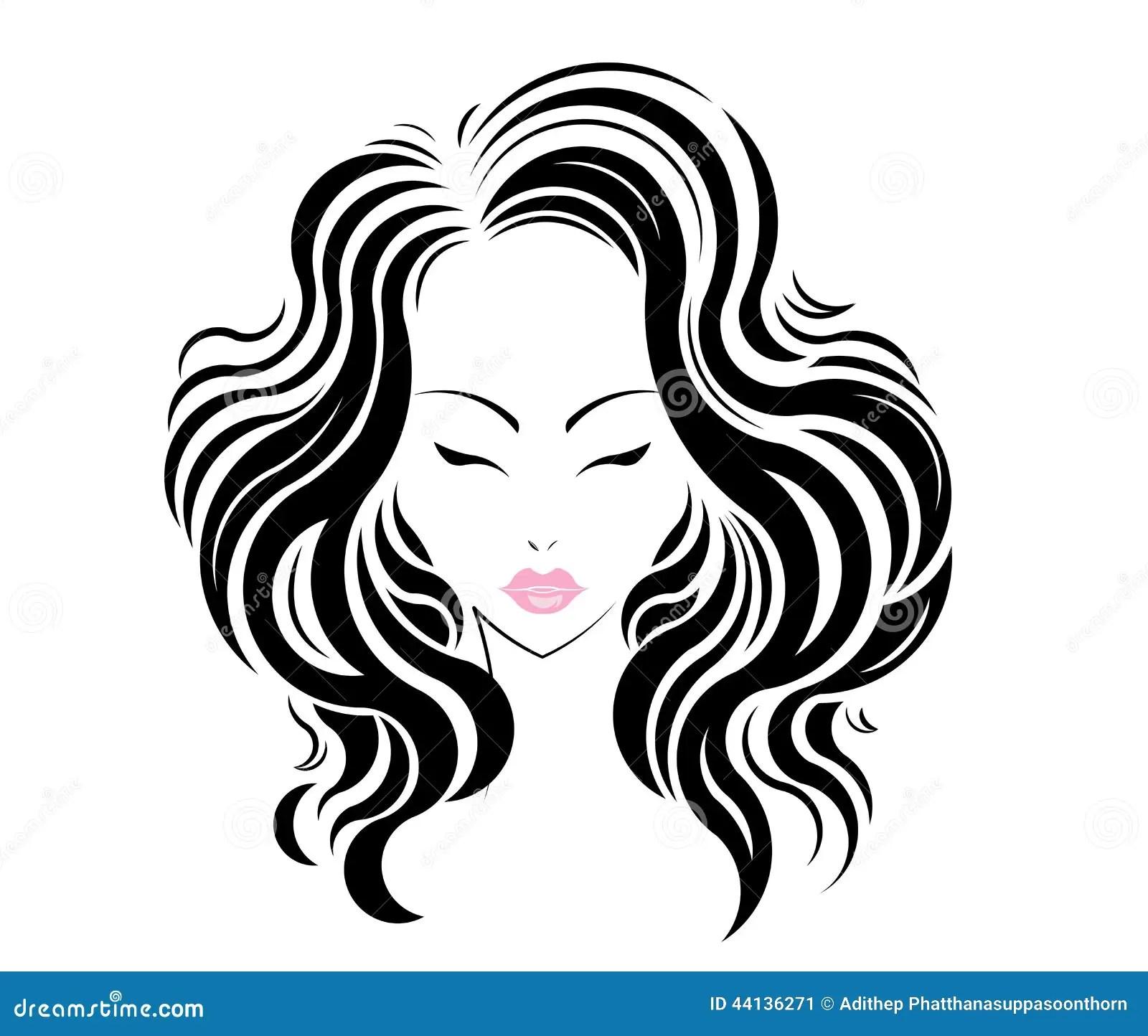 Long Hair Style Icon Logo Women Face Stock Vector