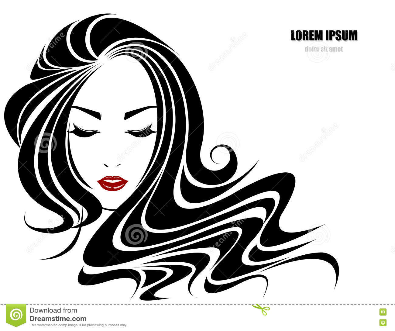Long Hair Style Icon, Logo Women Face Cartoon Vector