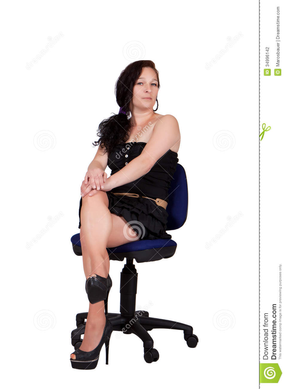 swivel office chair plans christmas covers for chairs long-haired woman on a stock photography - image: 34996142