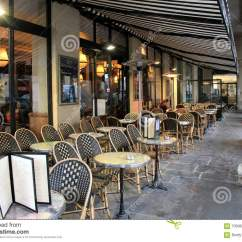 Paris Bistro Chairs Outdoor Chair Cover Hire Portsmouth Long Row Of Comfortable Tables And At Cafe