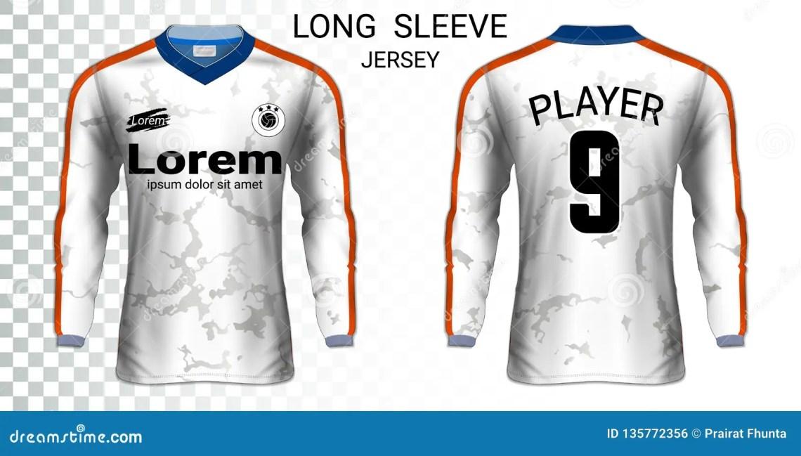 Download Long Sleeve Soccer Jerseys T-shirts Mockup Template. Stock ...