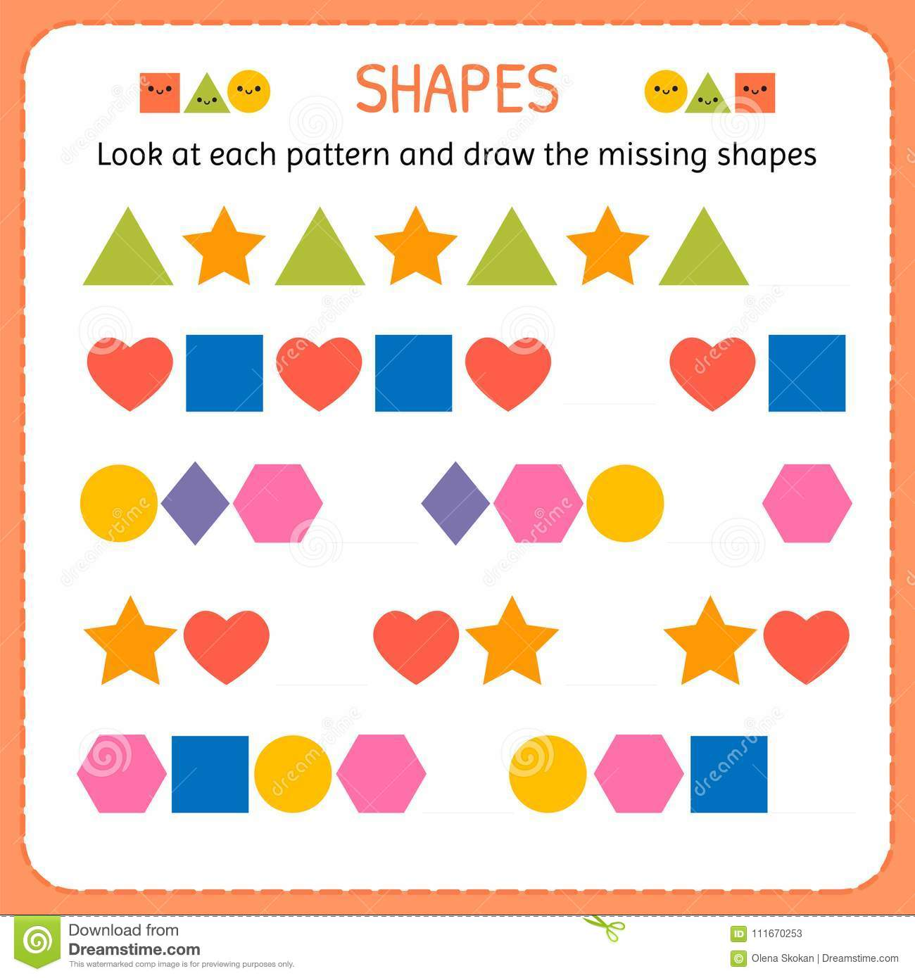 Look At Each Pattern And Draw The Missing Shapes Learn Shapes And Geometric Figures Preschool