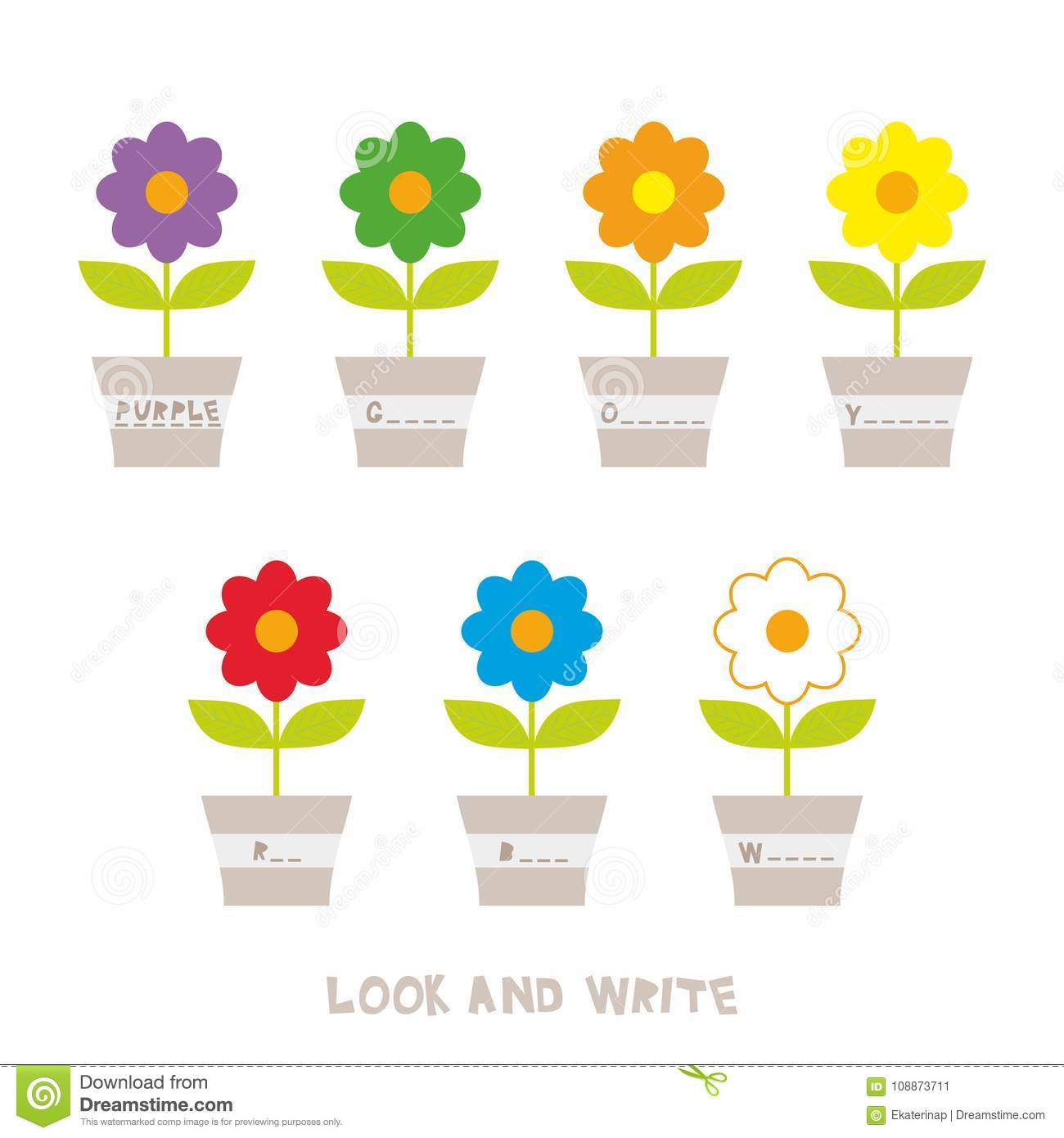 Look And Write Flowers In Pots Kids Words Learning Game