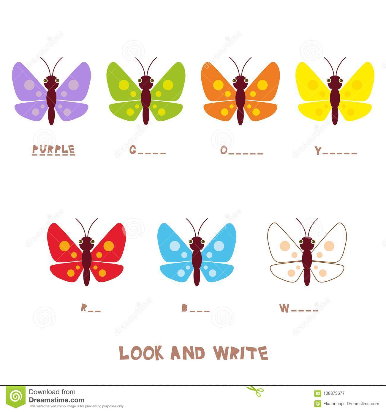 Look And Write Multicolored Butterflies Kids Words