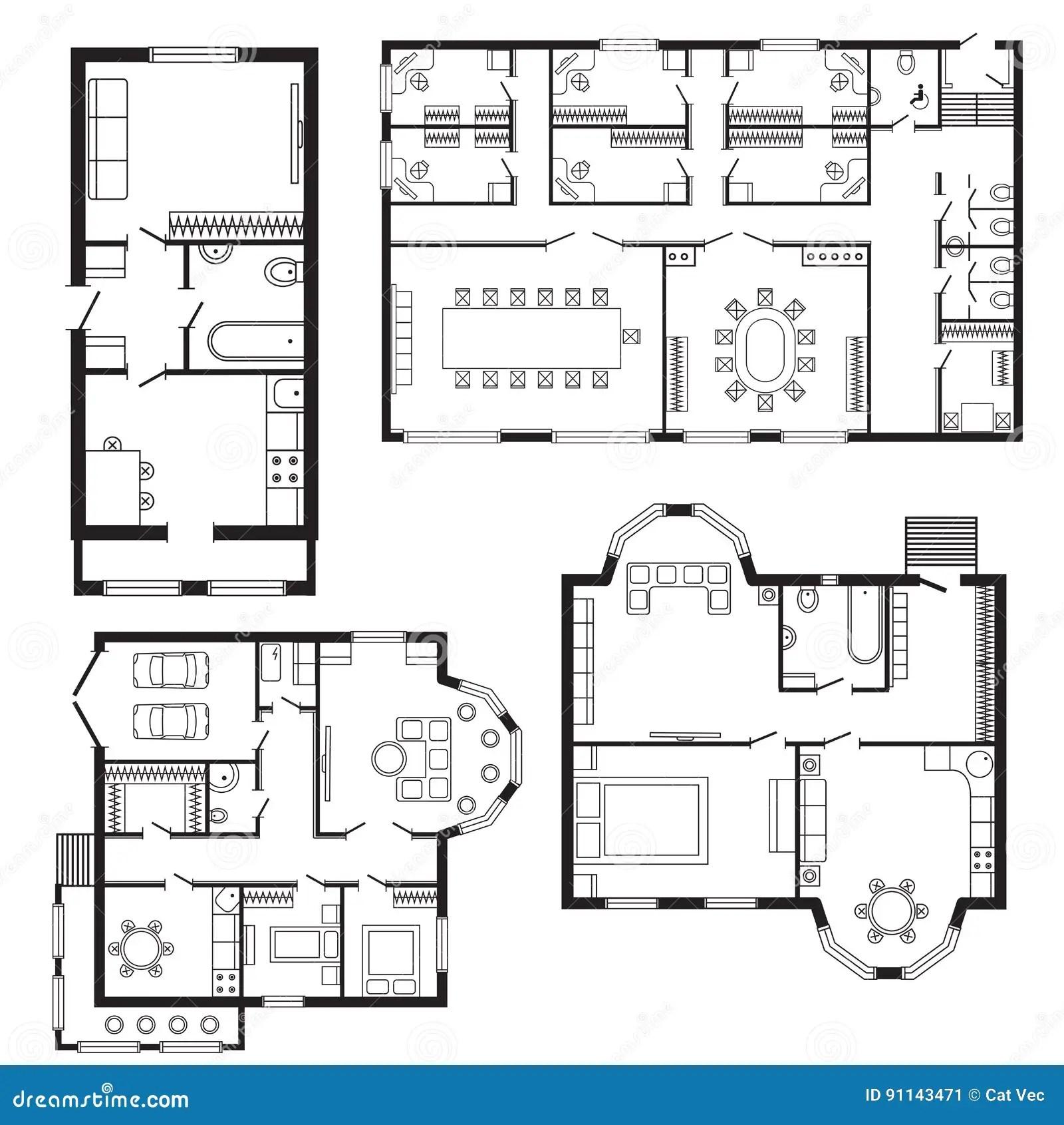 Los Muebles Del Plan Arquitectonico De La Oficina Y El Dibujo De Estudio Interiores Modernos De