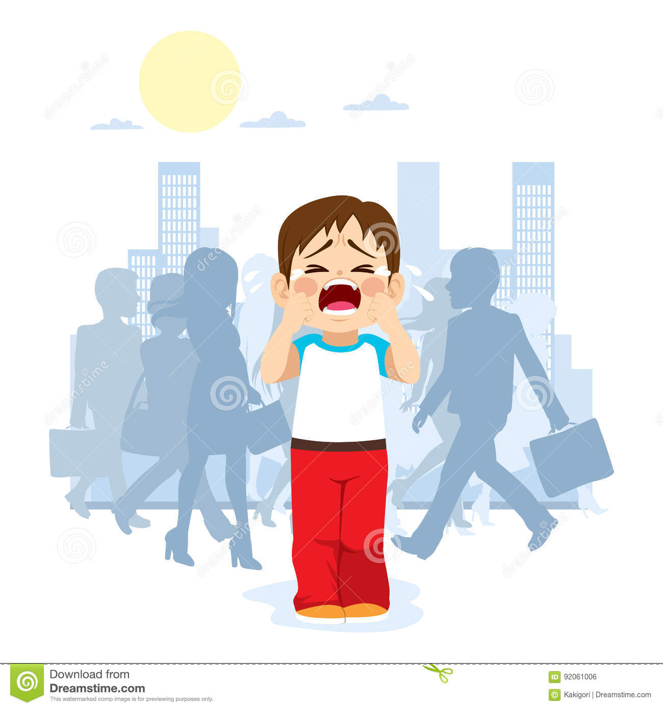 Lonely Crowd People Cartoon