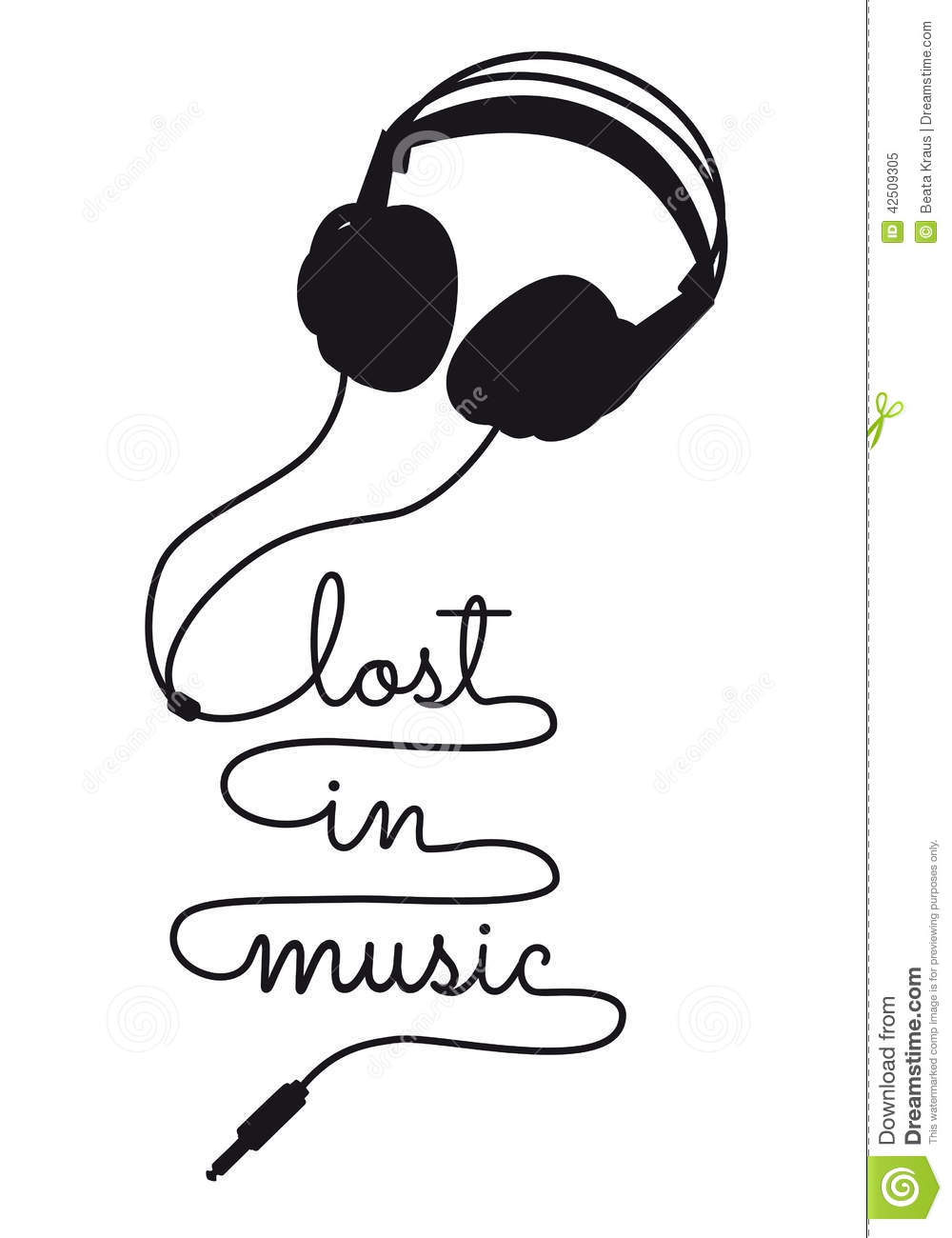 Lost In Music, Vector Headphone Stock Vector