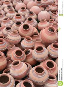 Lot Of Clay Pots In Local Fair India Stock