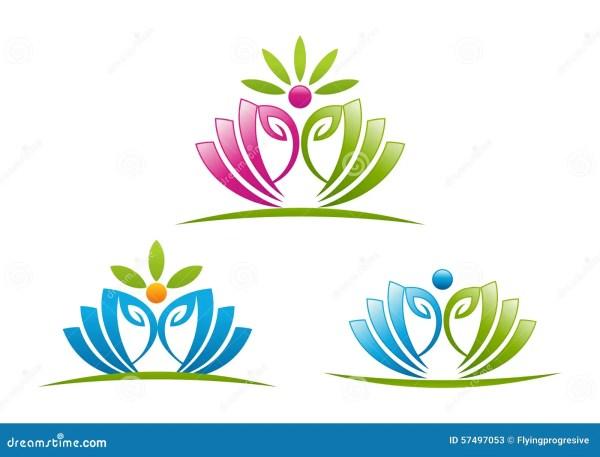 Lotus Yoga Logo Design Symbol Stock Illustration