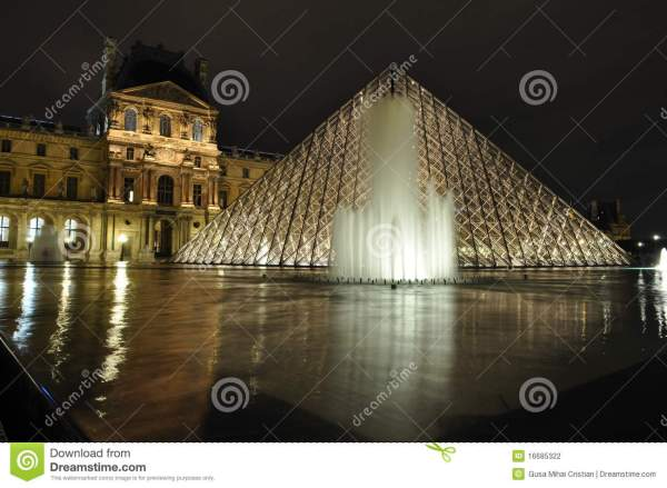 Louvre Museum With Fountain Editorial