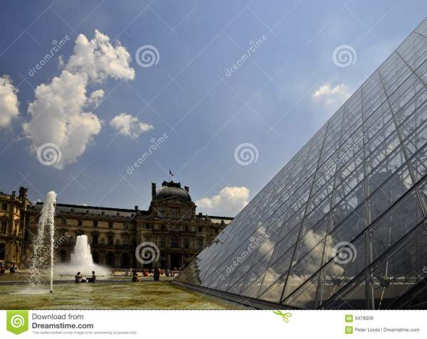 Louvre Museum -fountains Editorial Stock