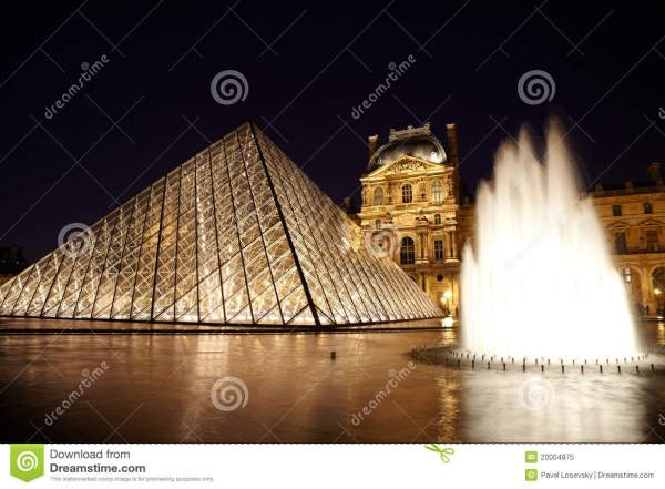 Louvre Pyramid Fountain And Pavillon Rishelieu Editorial