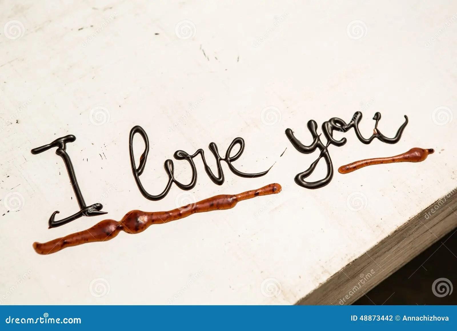 Love Coffee Cup And Handwriting I Love You Stock Photo