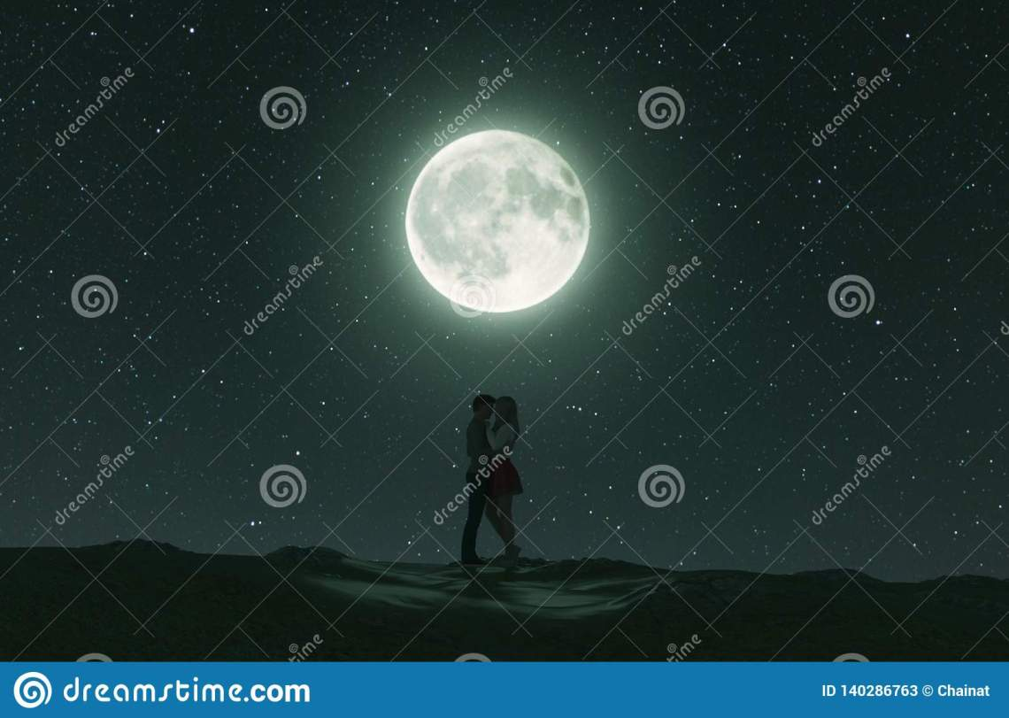 Download Love Couples Under The Moonlight Stock Illustration ...