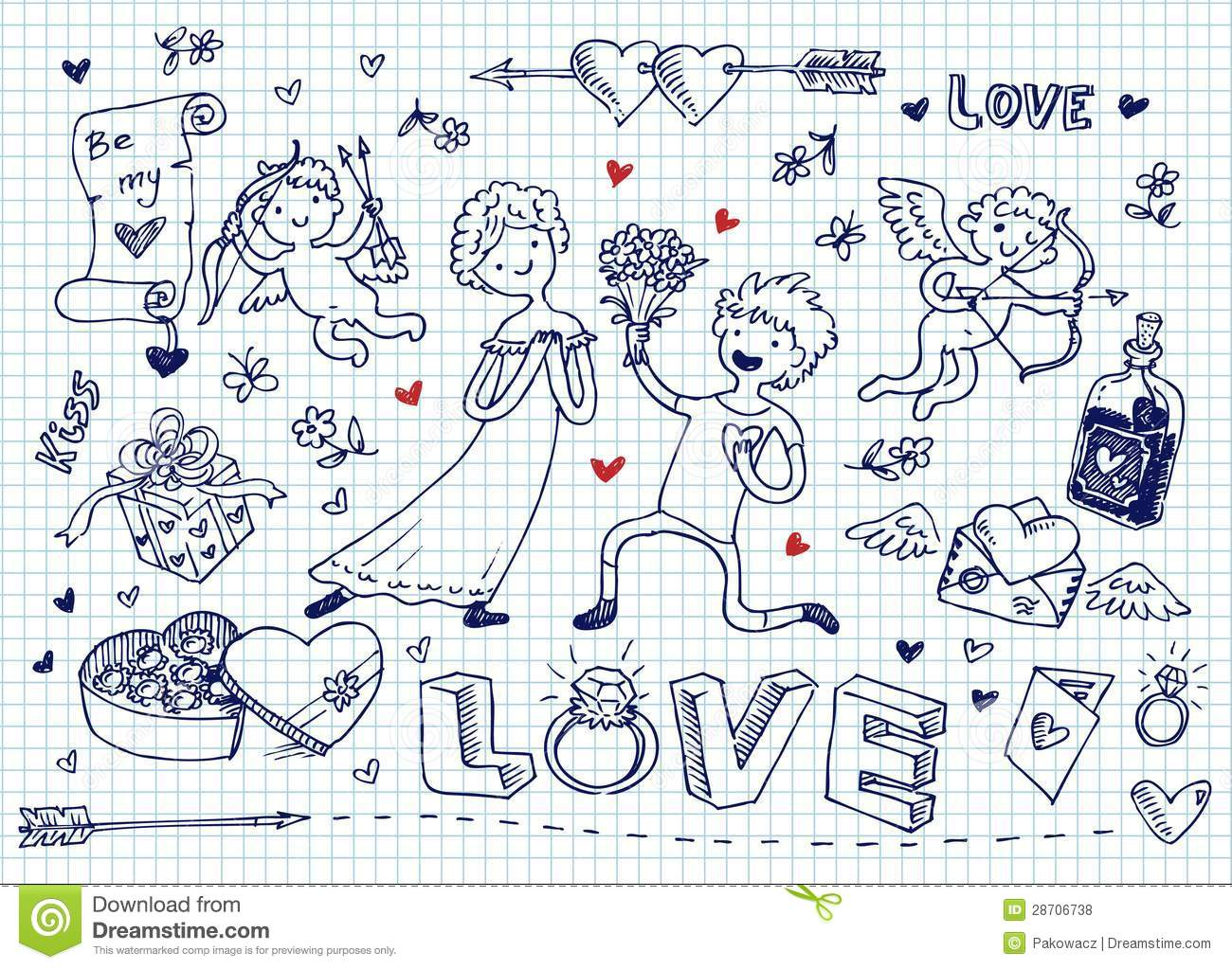 Love Doodles Stock Vector Image Of Beauty Pink Emotions