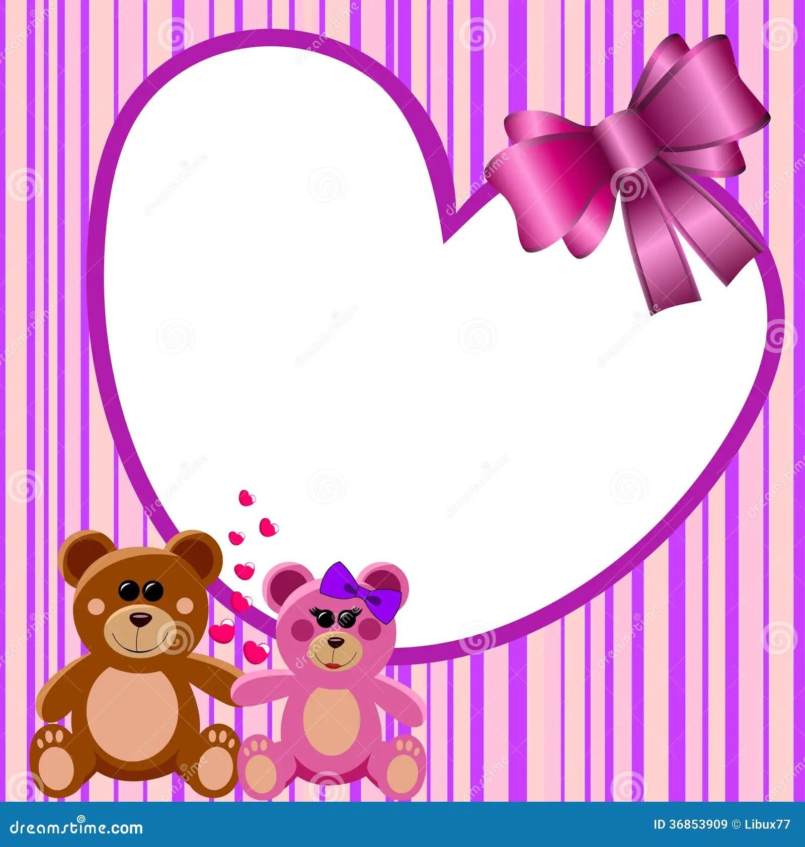 Love Heart Frame Teddy Bears Stock Vector Illustration