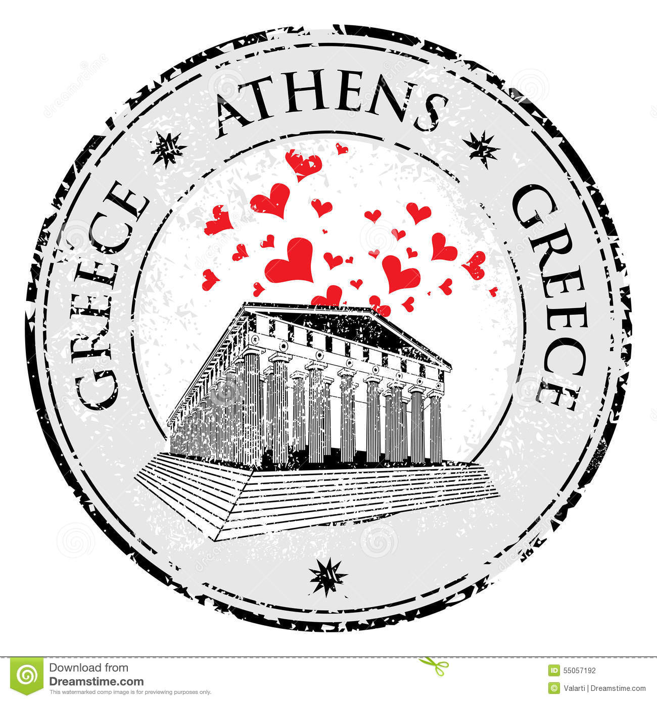 Love Heart Stamp With The Parthenon From Greece And The