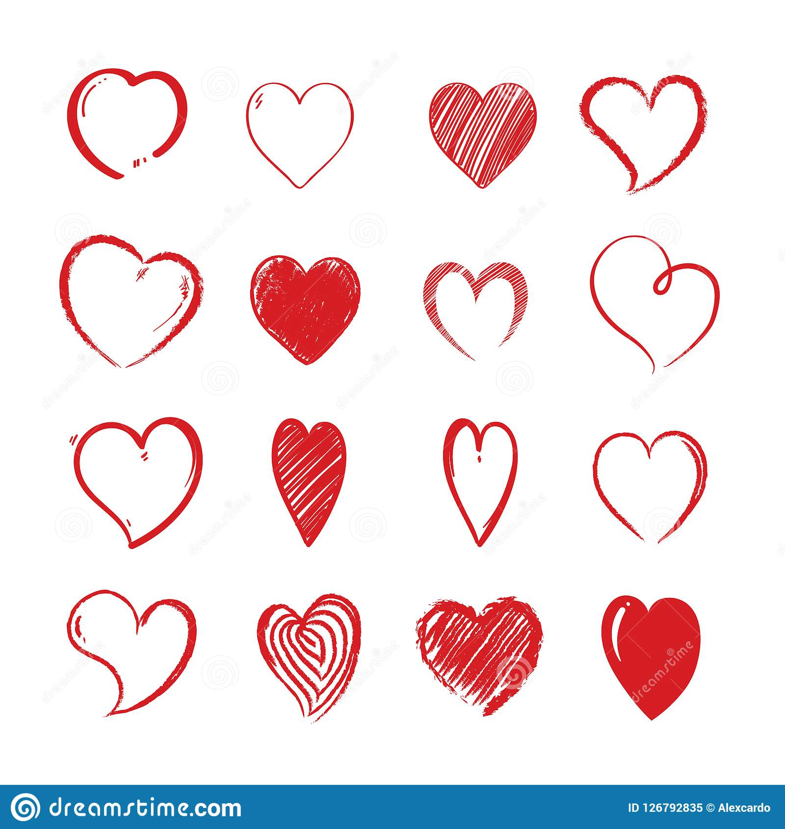 Love Hearts Shapes Decorative Valentines Day Lovely Stock