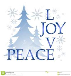 a clip art illustration of the words love joy and peace integrated puzzle style surrounded by trees and snowflakes [ 1300 x 1390 Pixel ]