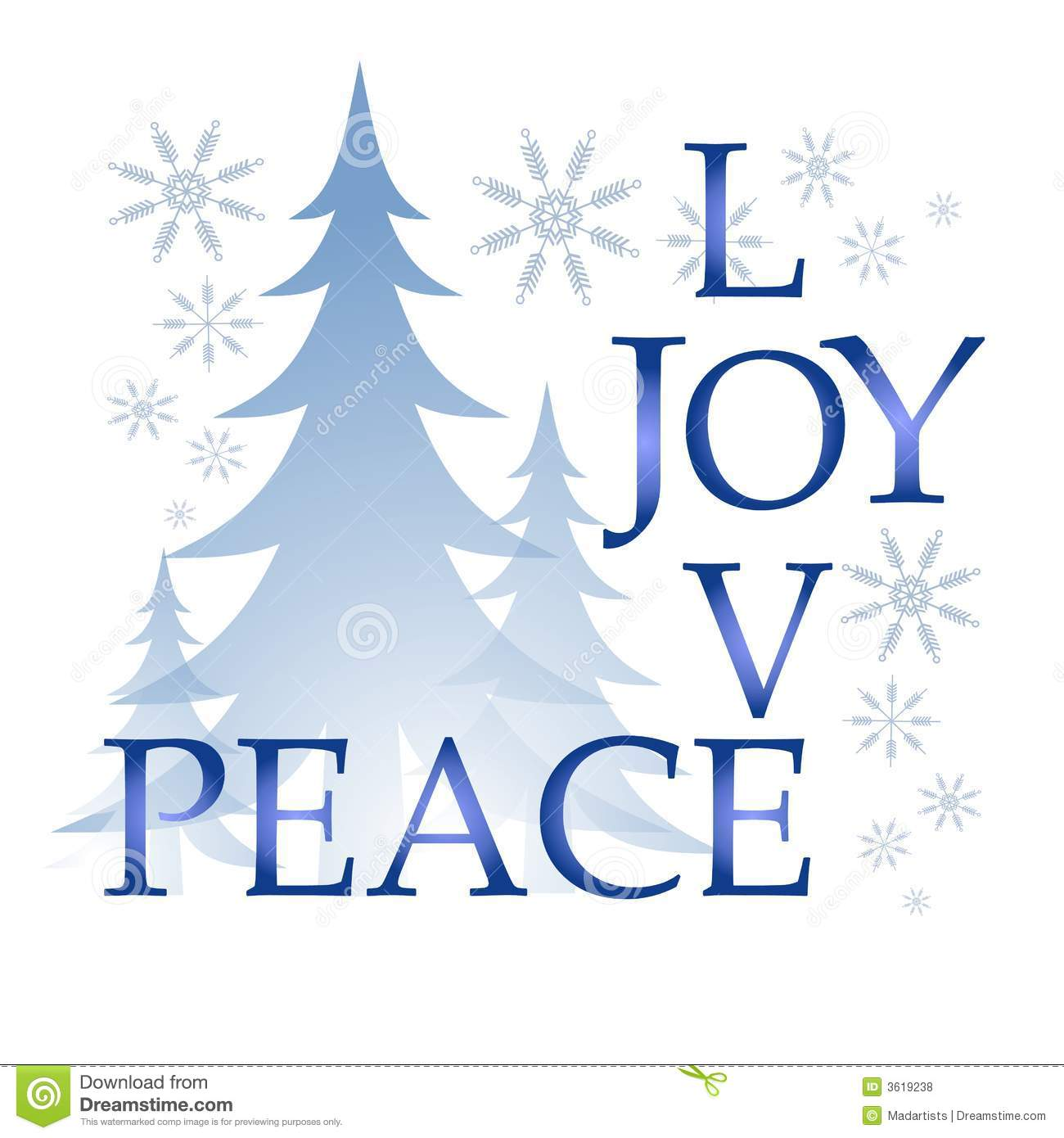 hight resolution of a clip art illustration of the words love joy and peace integrated puzzle style surrounded by trees and snowflakes