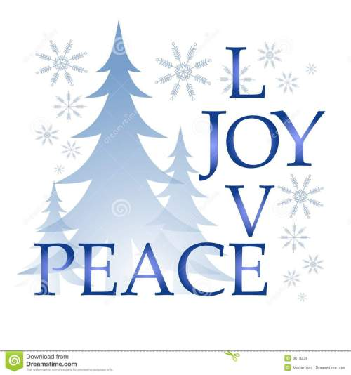 small resolution of a clip art illustration of the words love joy and peace integrated puzzle style surrounded by trees and snowflakes