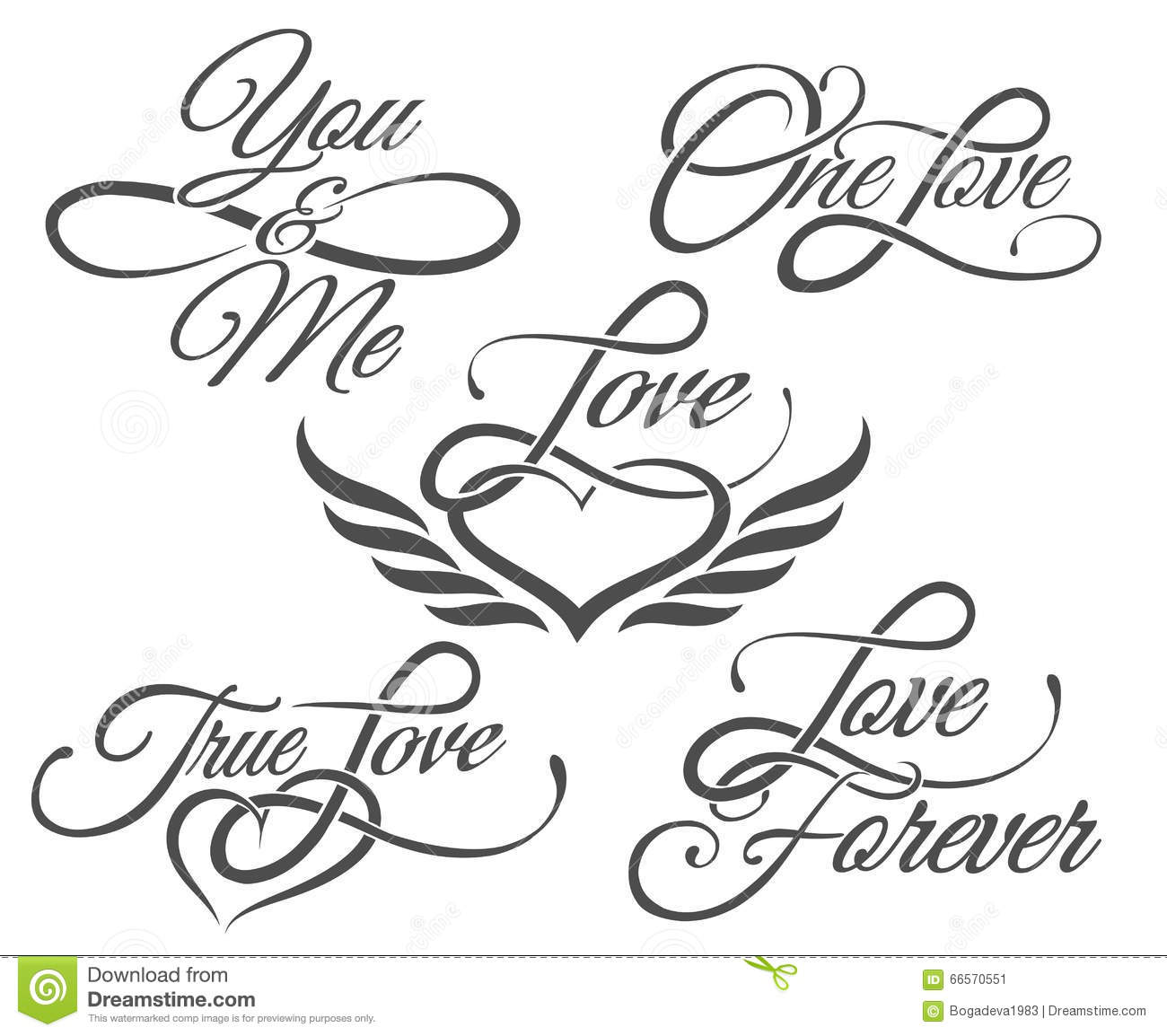 Love Lettering In Tattoo Style Stock Vector