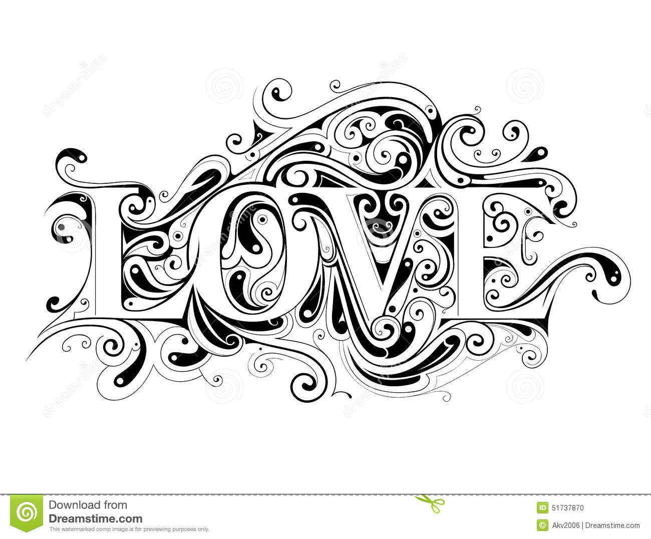 Love Lettering Stock Vector Image Of Vintage Love