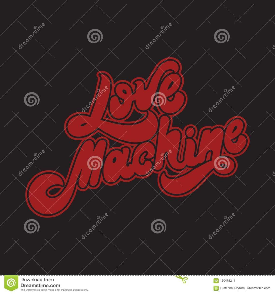 Download Love Machine. Vector Hand Drawn Lettering . Stock Vector ...