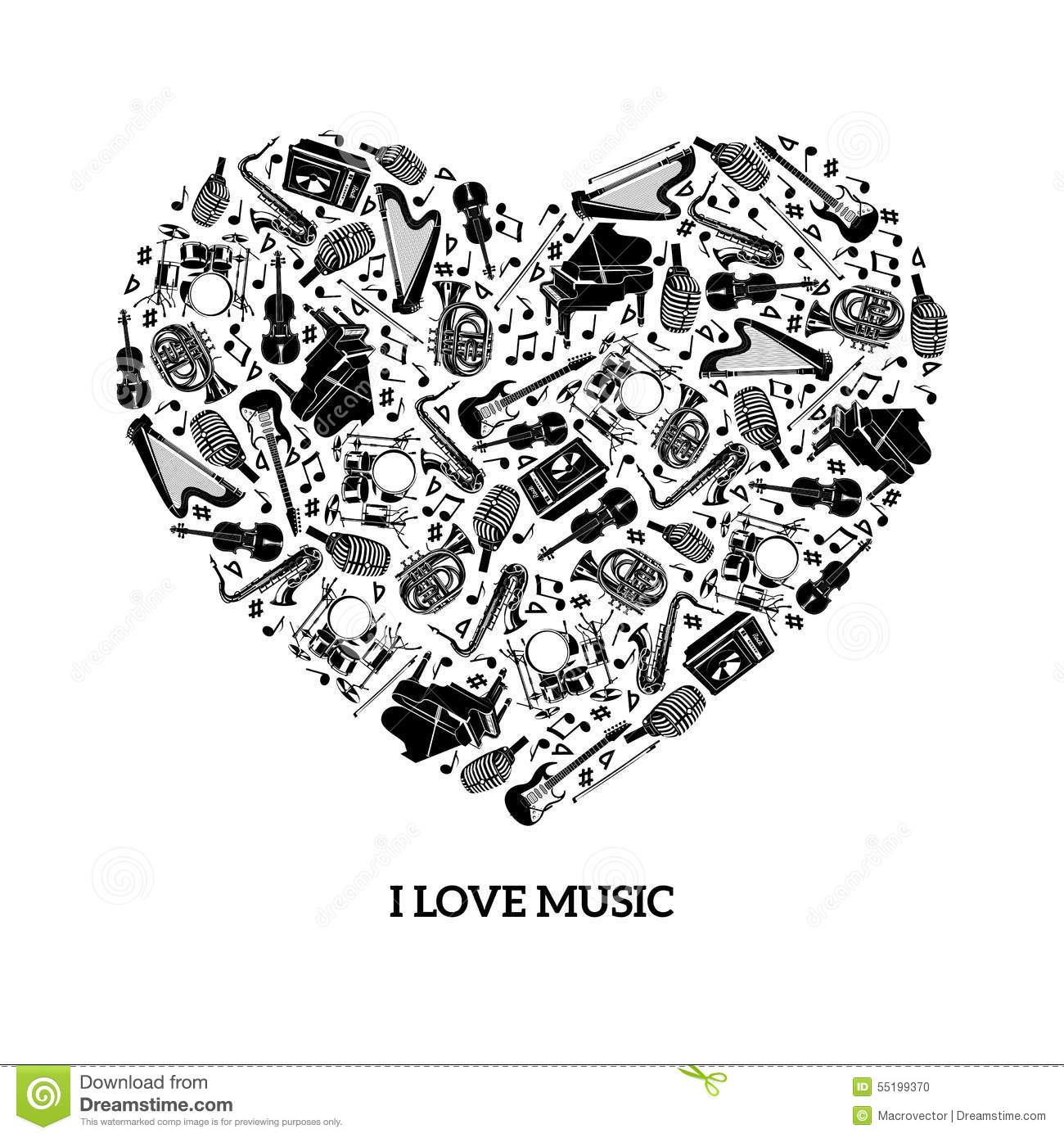 Love Music Concept Stock Vector Illustration Of Electric