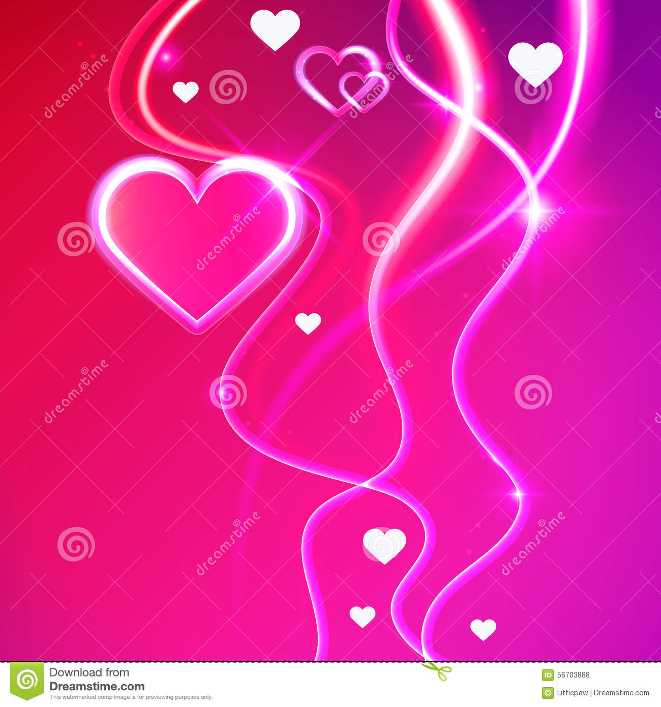 Love Heart Wallpaper Animation Love Vector Background Glowing Pink Hearts Stock Vector