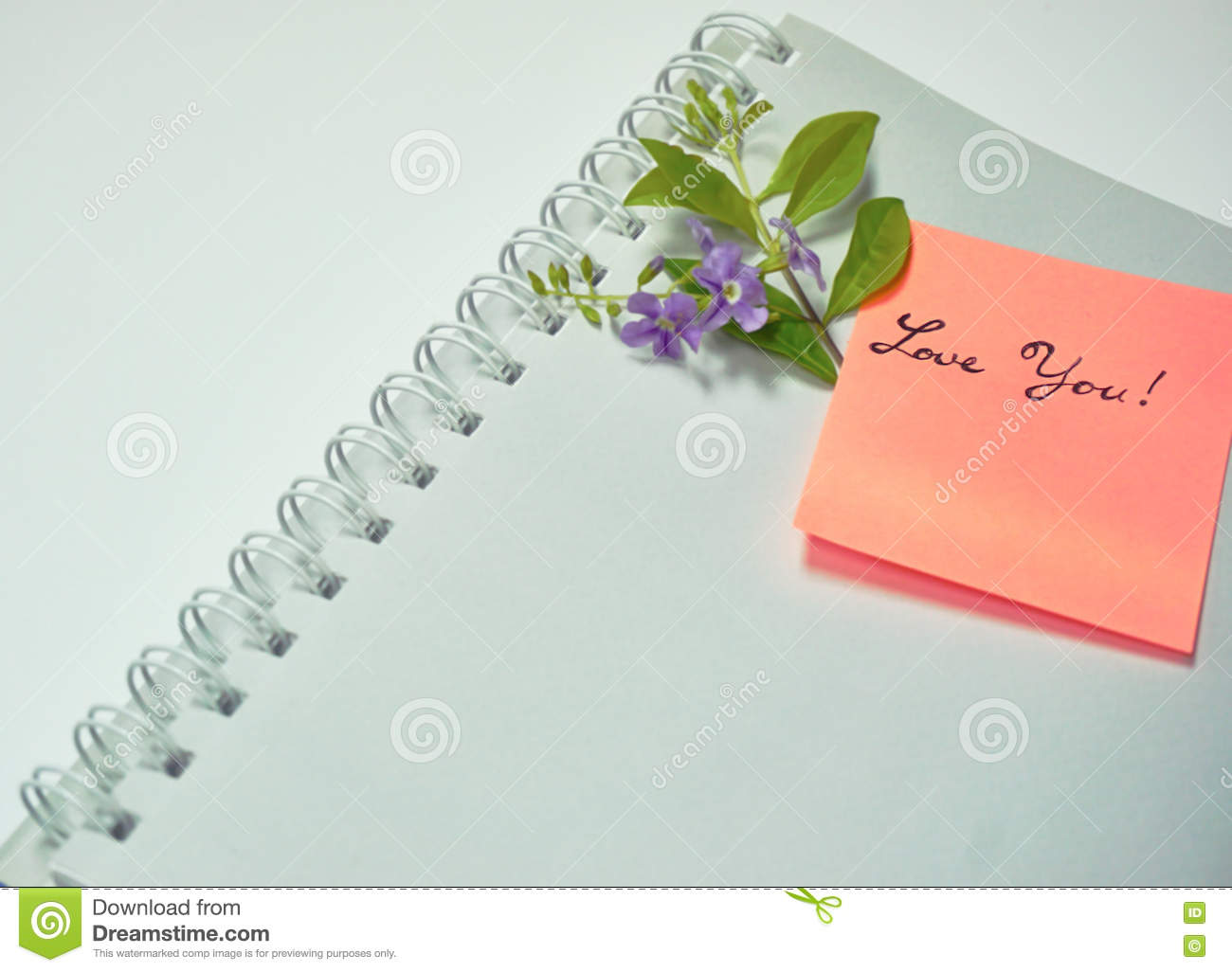 Love You Handwriting Word On Colorful Paper Stock Image