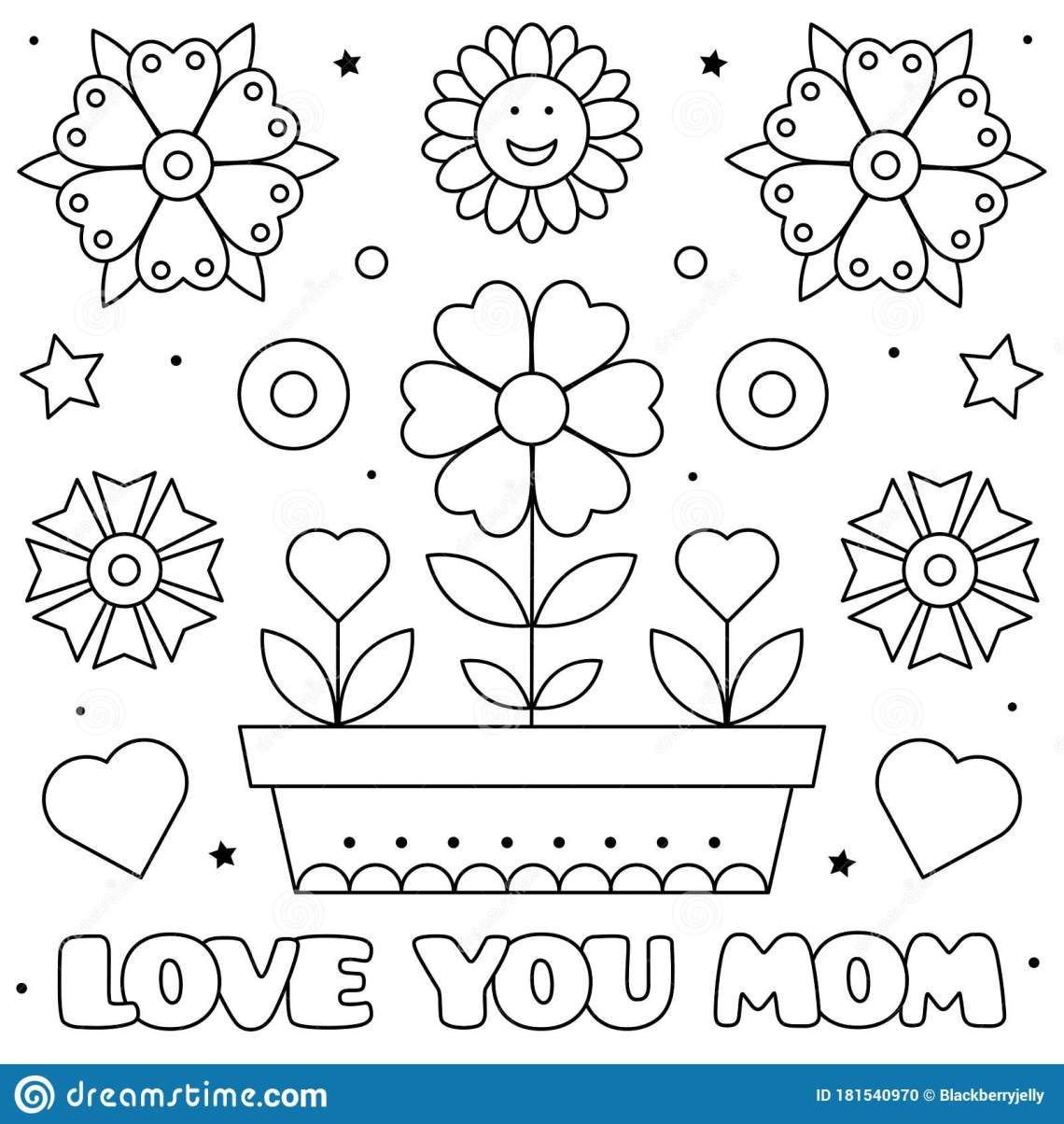 Download Love You Mom. Coloring Page. Vector Illustration Of ...