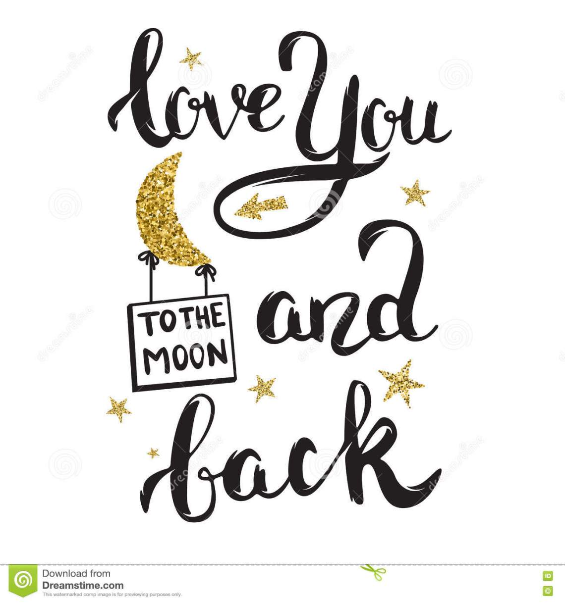 Download Love You To The Moon And Back. Hand Drawn Lettering With ...