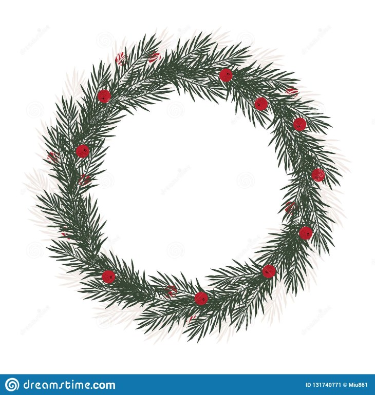 Lovely Green Christmas Tree Sprigs. White Background. No Text.