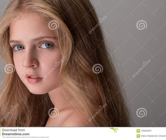 Lovely Little Girl Is Posing Wistfully Stock Image Image Of