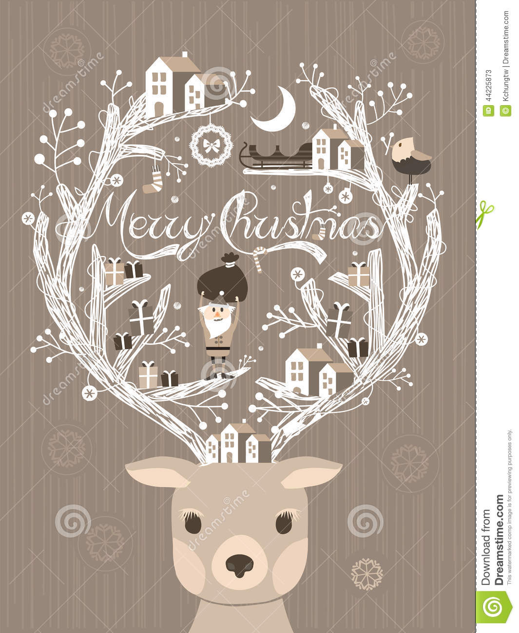 Lovely Moose Design Christmas Card Or Poster Stock Vector